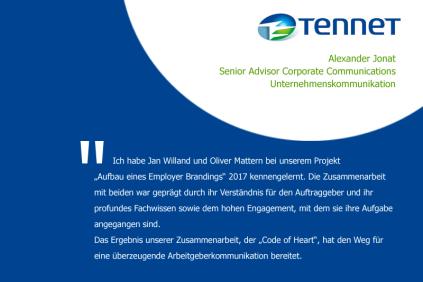 Kundenzitat von Alexander Jonat, Leiter Kommunikation bei Tennet, zur Zusammenarbeit